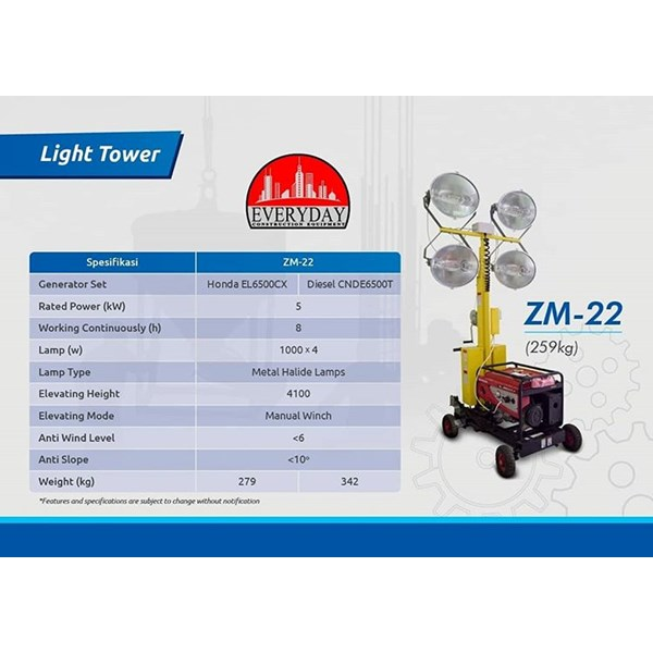 Light Tower 4000 Watt -  Everyday ZM22 ( 4 x 1000 Watt  )