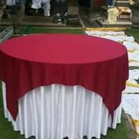 taplak meja sarung meja bulat merah putih 1
