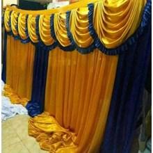 Background Dinding Tenda Pesta Warna Gold-Biru