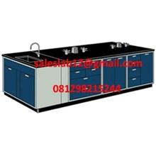 Alat Laboratorium Meja Lab Ruangan Tengah dengan sink