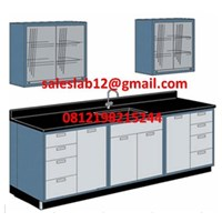 Meja Laboratorium with Sink and Rack