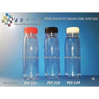 Promo Botol Plastik PET Organik 250ml tutup Warna-warni