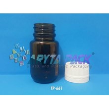 Botol kaca coklat 50ml fitkom tutup plastik (New) (TP661)