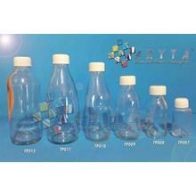 Botol kaca bening 250ml RC tutup putih plastik (second) (TP011)