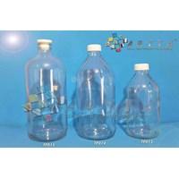 Botol kaca bening 500ml tutup putih plastik (secon