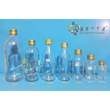 TP020. Clear glass bottle 250 ml Tin gold lid RC (second)