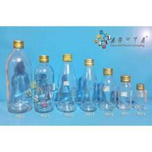 Botol kaca bening 250ml Laserin tutup emas kaleng (second) (TP021)
