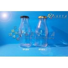 Botol kaca bening jus 300ml tutup hitam kaleng (New) (TP024)