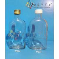 Botol kaca bening gepeng 250ml tutup putih plastik (second) (TP025)