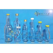 TP030. Botol kaca bening 340ml saos tutup emas kal