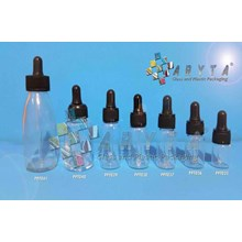 Botol kaca bening 30ml tutup pipet hitam  (New) (PPT040)