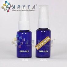 Botol kaca biru 20ml tutup pump (PMP194)
