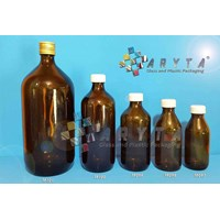 Botol kaca coklat 150ml tutup plastik (Second) (TP097)