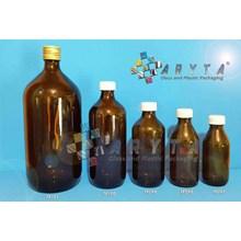 TP099(A). Botol kaca coklat 300ml tutup plastik (N