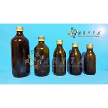 TP113(A). Botol kaca coklat 300ml tutup kaleng (Ne