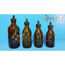 Botol kaca coklat 200ml pipet hitam (Second) (PPT125)