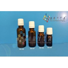 FLR447. Botol kaca coklat 20ml tutup filler putih