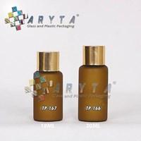 Botol kaca mossa coklat 18ml tutup gold polos (TP167)