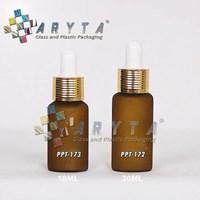Botol kaca mossa coklat 18ml tutup pipet gold garis (PPT173)