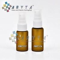 Botol kaca mossa coklat 20ml tutup pump lotion (PMP176)