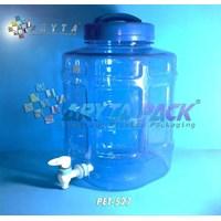 Galon plastik pet 10 liter biru C kotak + keran (PET527)