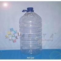 Galon plastik pet 10 liter natural tutup ulir + tangkai (PET642)