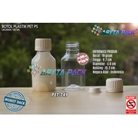 Botol plastik PET 100ml PS tutup segel (PET249)