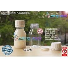 Botol plastik PET 250ml PS natural  tutup segel (PET273)