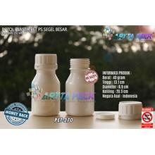 Botol plastik PET 250ml PS putih susu tutup segel (PET270)