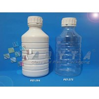 Botol plastik PET 1 liter PS natural tutup segel (PET275)
