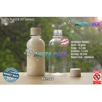Botol plastik PET 200ml sanno natural tutup segel (PET266)