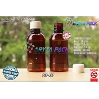 Botol plastik PET 200ml sanno coklat tutup segel (PET457)