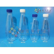 Botol plastik PET 370ml Bowling tutup putih segel (PET592)