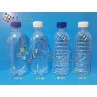 Botol plastik PET 330ml air mineral tutup putih segel (PET558)