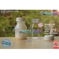 Botol plastik minuman 100ml essen tutup putih segel (PET439)