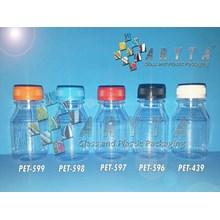 Botol plastik minuman 100ml essen tutup biru segel (PET598)