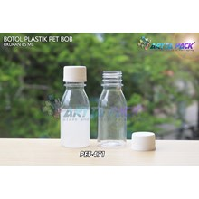 Botol plastik minuman 85ml bob bening tutup segel (PET471)