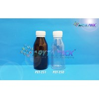 Botol plastik minuman 100ml besar natural tutup segel (PET250)