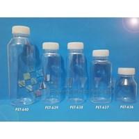 Botol plastik minuman 100ml essen tutup natural segel (PET636)