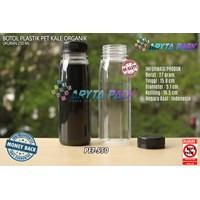 Botol plastik minuman 250ml jus organik tutup hitam segel (PET550)