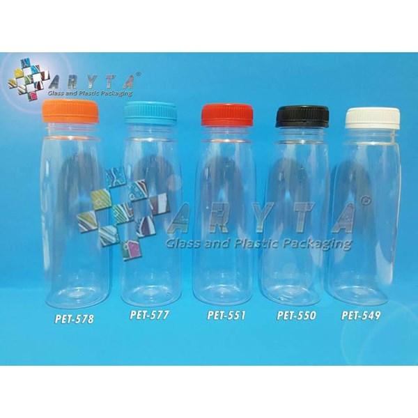 Botol plastik minuman 250ml jus organik tutup biru segel (PET577)