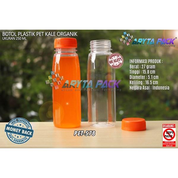 Botol plastik minuman 250ml jus organik tutup orange segel (PET578)