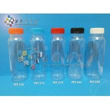 Botol plastik minuman 250ml jus kale tutup merah segel (PET574)
