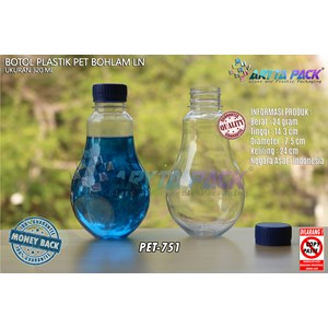 From PET751. Plastic drinks bottle 320ml bulb lid seal blue 0