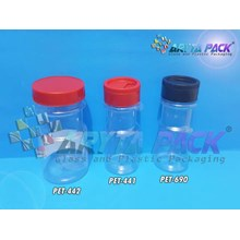 Toples plastik PET 150ml boncabe tutup sliding hitam (PET690)