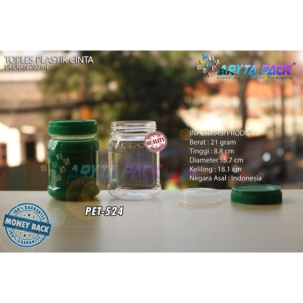 Toples plastik PET 200ml selai cinta tutup hijau (PET524)
