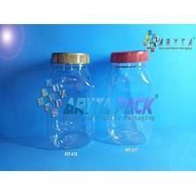 PET478. Toples plastik PET 500ml gepeng tutup gold