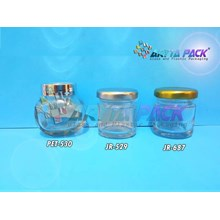 Jar kaca 30ml bulat tutup kaleng silver (New) (JR529)