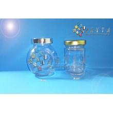 Jar kaca 180ml gepeng tutup plastik silver (New) (JR542)