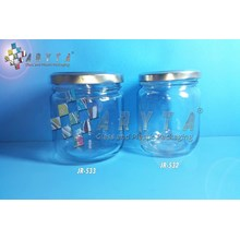 Jar kaca 330ml bulat tutup kaleng silver (New) (JR533)
